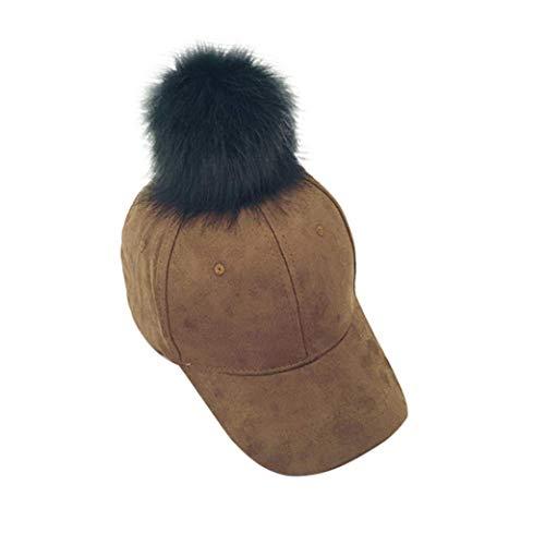 Oudan Mode Faux Fuchspelz Baseballmütze Weiche Winter Herbst Wildleder Hip-Hop Hüte Ajustable Hüte (Farbe : Braun)