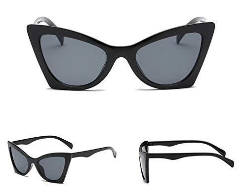 WSKPE Sonnenbrille Cat Eye Sonnenbrille Cute Sexy Kleine Katze Auge Sonnenbrille Uv 400 Schwarz Gestell Schwarz Objektiv
