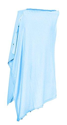 Sciarpe in seta ricamato in cashmere Sciarpe in seta in cardigan 5 In 1 donne Cielo blu