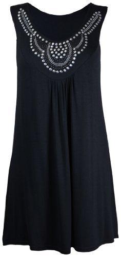 Ärmelloses Perlen (Top Damen Lang Schmuckstein Strass Besetzt Ärmellos T-Shirt Rund Ausschnitt - EU 44, Schwarz)