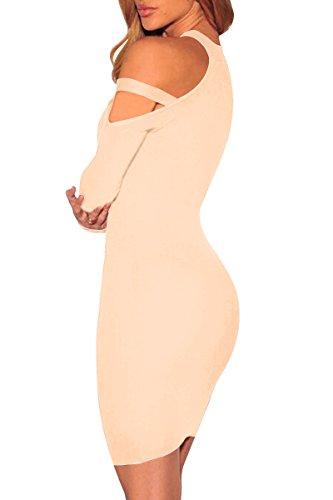 YMING Damen Kleid Figurbetont Sexy Abenkleid Elegantes Bleistiftkleid, S-XL,DE 36-42 Khaki