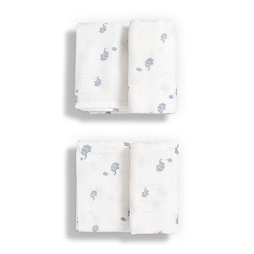 Gloop Baby Care Traditionelle Musselindecke aus Biobaumwolle, weiß, 2Stück -