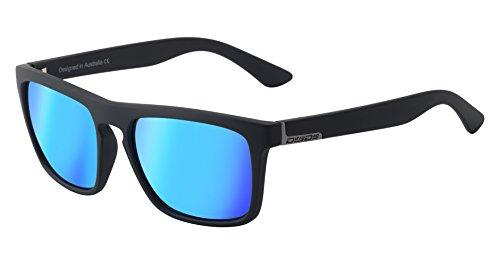 Dirty Dog Ranger-Sonnenbrille in Mattschwarz mit polarisierenden, eisblauen Spiegelgläsern
