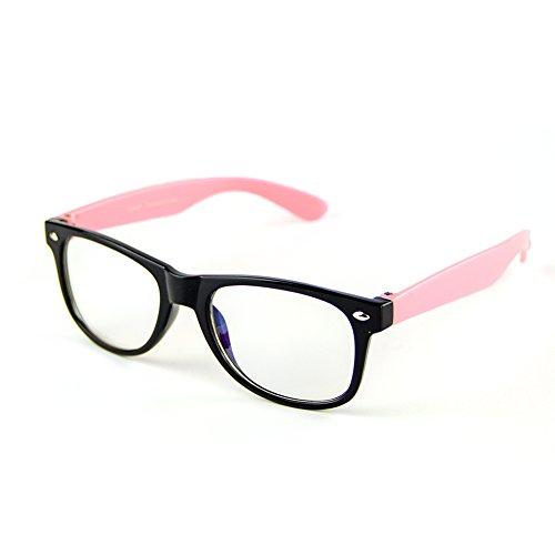 Cyxus filter blaues licht brille für kinder und jugendliche [transparente linse] anti ermüdung der augen das auge des kindes schützen rosa rahmen brille ohne stärke
