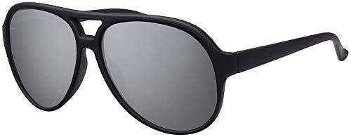 La Optica Original UV400 Unisex Retro Sonnenbrille Pilot - Farben, Einzel-/Doppelpacks (Einzelpack Gänzend Schwarz (Gläser: Silber verspiegelt))