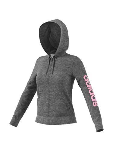 adidas Essentials Linear Full Zip Hooded, Giacca da Tuta Donna, Dark Grey Heather/True Pink, XL