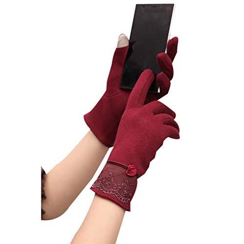 Frauen Winterhandschuhe Touch Screen Spitze Blumen im Freien Sport Driving Fäustlinge Cotton Mitt Mischung (Driving Für Spiele Mädchen)