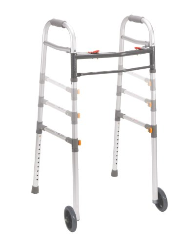 Drive Medical Deluxe Two Button Folding Universal Walker with 5' Wheels (Gray)