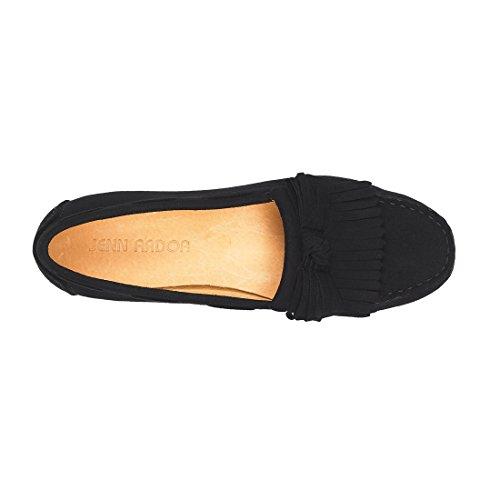 JENN ARDOR Mocassini Penny in pelle scamosciata nappa per donna: Mocassini con moschettone, stivali da passeggio per barche Nero