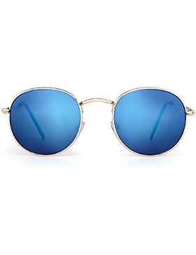 Gafas de Sol Redondas Pequeña Polarizadas Lente Retro Espejo Círculo Marco de Metal Hombre Mujer