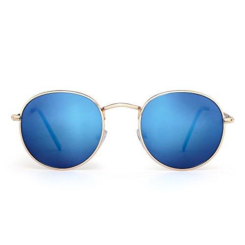 JIMHALO Polarisiert Klein Rund Sonnenbrille Retro Spiegel Kreis Linse Metall Rahmen Damen Herren(Gold/Polarisiertes Blau)