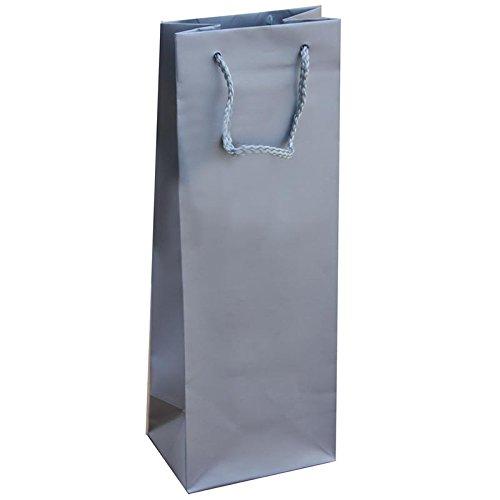 Silber Geschenk Flasche Tasche mit Kordel Griff (72Stück) (Silber-geschenk-taschen Mit Griffen)