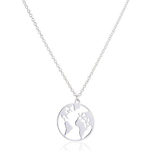 GD GOOD.designs EST. 2015 Damen Weltkugel Halskette in Silber, Gold oder Roségold, Weltkette Kettenlänge 45 cm (Silber)