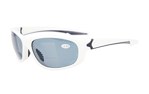 Eyekepper polarisierten Polycarbonat Bifokalwillen Sport Sonnenbrillen für Männer Frauen Baseball Laufen Angeln Fahren Golf Softball Wandern TR90 Unbreakable White Frame Grey Lens +1.5