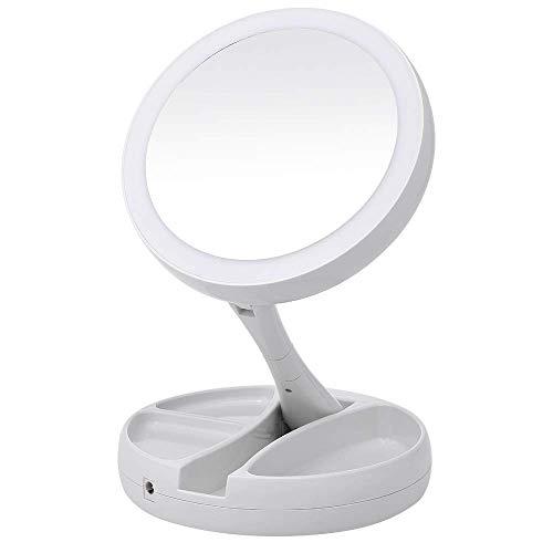 YQG LED Schminkspiegel, 360° Schwenkbar LED Kosmetikspiegel, 1X / 10X Vergrößerung - Kompakt, Klappbarer, Große Reisespiegel Beleuchtet für Kosmetik Unterwegs