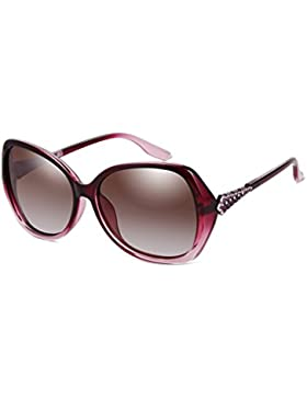 LIZHIQIANG Gafas De Sol Polarizadas Mujer Retro Marea Cara Redonda Cara Larga Gafas De Sol Con Montura Rhinestone...