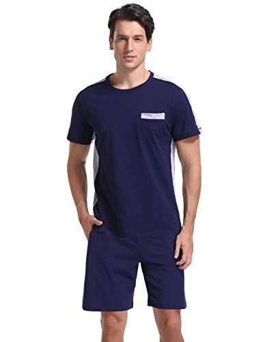 Nachtwäsche Pyjama Top (Hawiton Herren Pyjama Set Baumwolle Herren Sommer Schlafanzug Loungewear Kurzarm Top & Bottoms Nachtwäsche Set)