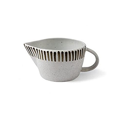 Milk cups Breakfast cup Coffee cups Home cups With handle Juice pot ceramics Glaze tableware white Creative stripe Simple Fresh fashion Home Hotel restaurant(Batch of