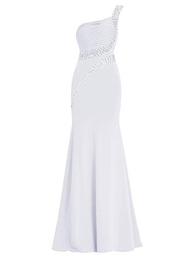 Dresstells Robe de soirée Robe de cérémonie longue une épaule avec paillettes Blanc