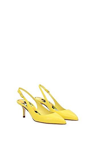 CG0011A141980272 Dolce&Gabbana Sandale Femme Cuir Jaune Jaune