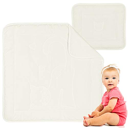 Preisgekröntes Baby Bettdecke und Kissen - Bamboo Bettdecke Set aus Hochwertige Materialen - Warm in Sommer, Kühl in Winter (80x80 + 35x40)