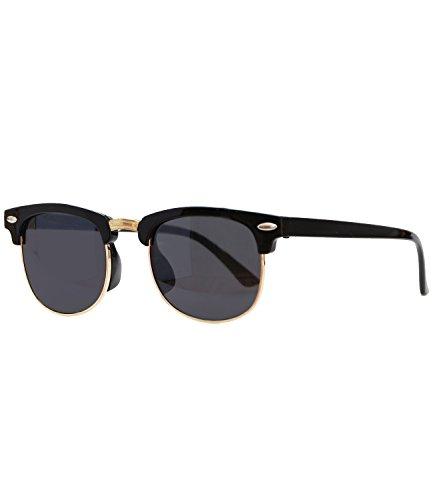 Caripe Sonnenbrille Retro Vintage Kinder Mädchen Jungen verspiegelt - klubbakid (One Size, 411 - schwarz - schwarz getönt)