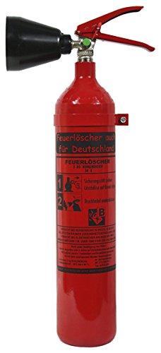 NEU 2 kg CO2 Kohlendioxid Feuerlöscher auch für Deutschland DIN EN 3 GS + Wandhalterung, Kohlensäure Löscher für EDV Küche Haushalt Gastro Hotel
