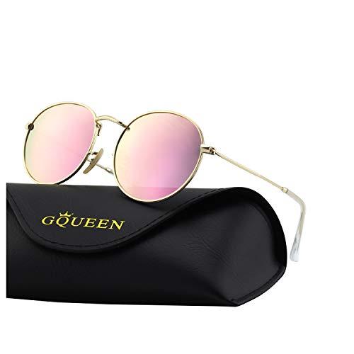 GQUEEN Espejo Redondo Vintage gafas de sol polarizadas con protección