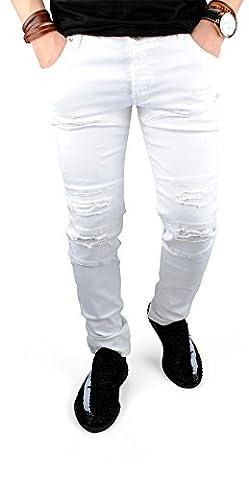 FiveSix Herren Used-Look Denim Slim-Fit Destroyed-Look Zerrissen Löcher Bikerjeans Jeans Hose mit Stretch Weiss EU