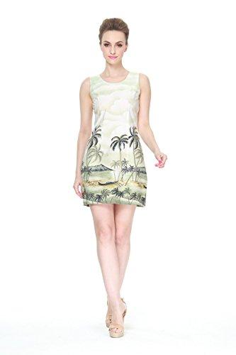 Hecho-en-Hawai-Mujer-hawaiano-Luau-Vestido-de-tanque-Palma-Mar-Scenic-en-verde