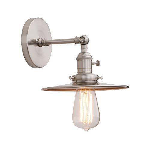 Phansthy indoor industriale lampada da parete con interruttore moderno applique raccordi attacco E27, paralume in metallo vintage corridoio lampade per soggiorno Art Decor Brushed