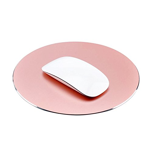 ProElife Premium-Aluminium-Metall-Mauspad/-Matte für Apple, Magic Mouse, Microsoft, Logitech, Tecknet, Razer, Metal Mouse Pad-Round-Rose Gold Colour, Mouse Pad -