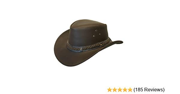 Lesa Collection LEATHER HAT AUSSIE BUSH STYLE Classic Western Outback SK  2 6c5e5cc5ad00