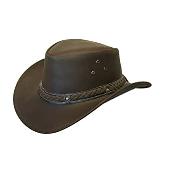 LEATHER HAT AUSSIE BUSH STYLE Classic Western Outback (2XL (61-62-56 CM))