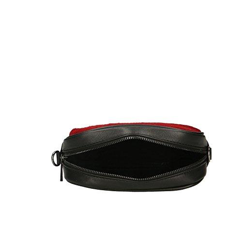 Chicca Borse Pochette Elegante Borsetta a Spalla da Donna in Vera Pelle Made in Italy 100% Genuine Leather 22x16x7 Cm Rosso