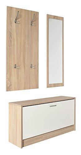 Ts-ideen 11409 set di 3 triplo scarpiera salvaspazio 45,5 x 84 cm tonalità rovere chiaro 1 scomparto ad anta basculante banco panca specchio appendiabiti guardaroba
