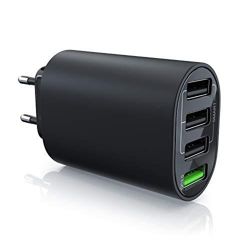 CSL - USB Ladegerät 35W QC 3.0 | 4 Port Netzteil inkl. Quick Charge (Schnellladefunktion) | Smart Charge + Solid Charge (intelligentes Laden) | geeignet für Handys, Smartphones, Navis, Tablets UVM.
