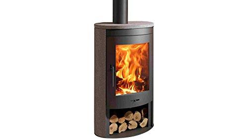 Preisvergleich Produktbild PANADERO Kaminofen Oval, Stahl, 11 kW, klares Design, Holzfach