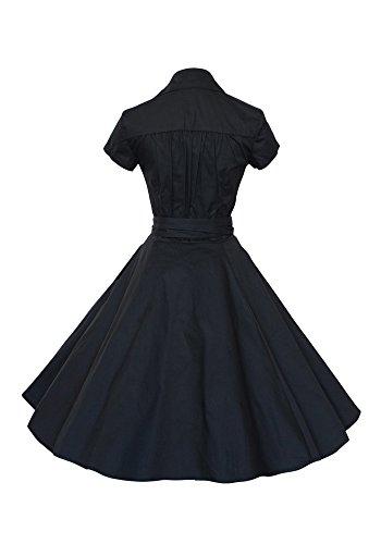 MISSEUROUS Damen Frauen Sind Kurze ärmel Definiert Bowknot Vintage Party Swing - Kleid Schwarz
