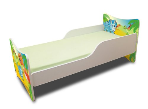 Best For Kids BFK baby bedCHLDREN'S BED with foam mattress with TÜV CERTIFIED Youth bed 70x140 + mattress + slatted frame + WALL STICKER (dinosaur) 4myBaby Cot with mattress 10 cm (TÜV tested foam) & with drawer (if indicated in the title) different designs. Made in the EU. Under the link you will find all the cots we have in the assortment: http://amzn.to/2eWuP4a Bed was made of high quality chipboard and has colorful prints on the fronts. The side panels are white. The imprint was made of ecological colors and additionally laminated, so the colors do not fade and can not be wiped off. The bed edges have a special coating and thus protect your child from injury. The Guardrails Prevents your little one from falling out of bed during sleep. The special production and high-quality materials ensure that all cots we offer are very stable and robust. The slatted frame consists of 2 cm thick cross bars made of wood and holds max. 150 kg body weight. A parent can sit on the bed and also lie with the child. Foam mattress with zippered cover. 3