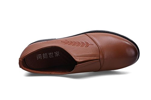 Dames Femmes Flats Single Shoes New Leisure Loafer Confort Pompes en cuir véritable Low Rough Heel Non-slip Soft Bottom Noir Marron Fall Spring Party Travail Brown