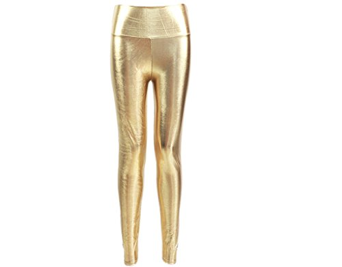 BONAMART  Damen Sexy Gothic Punk High Waist Glanz Kunstleder Metallic Leggings Lack Leggins Hose Gold