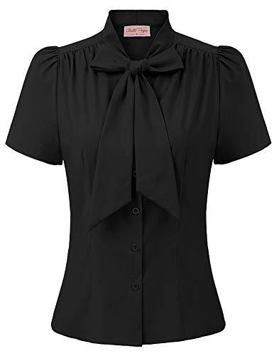 schwarz Tops für Damen festlich Oberteil Sommer Bluse t-Shirt mit Schleife L BP819-2