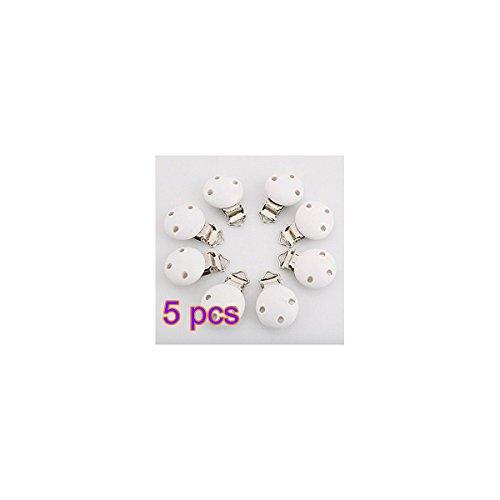 Casadeiy 5er drei Löcher runden hölzernen Schnuller Clip Säugling Schnuller Clip (Weiß)