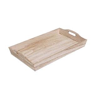 Brillibrum Design Serviertablett Holz Rechteckig Küchentablett Natur Tabletts Aus Holz Mit Griff (Klein (44 cm))