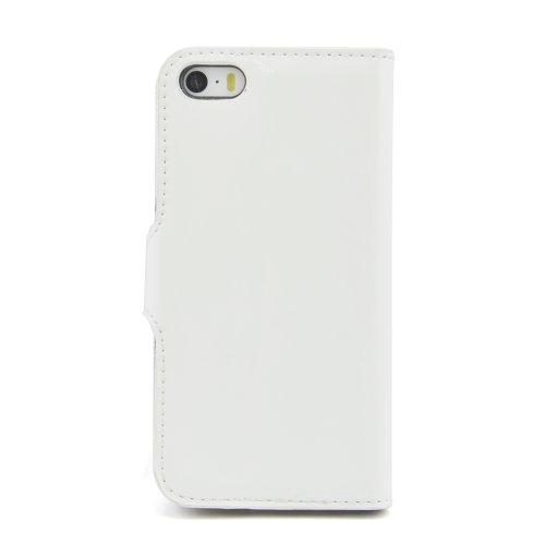 Apexel - Custodia folio in ecopelle per iPhone 5/5s, effetto vernice, colore: rosso bianco
