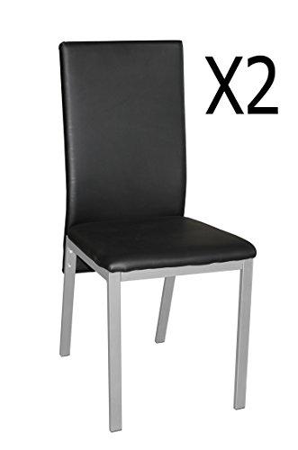 PEGANE Lot de 2 chaises Noires avec 4 Pieds en Acier Gris - Dim : 40 x 50 x 93 cm