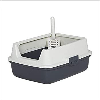 D&D Bassin de litière pour Animaux de Compagnie Grand écran Cat Sand Shovel Déodorant Toilette Semi-fermée Fournitures pour Chats,Black