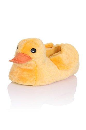 Kaninchen Pelz Mokassins (Loungeable Boutique Damen 3D Neuheit Tier Pantoffeln - Ente, 40/41)