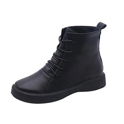Botines para mujer Botines Martín Zapatos Moda Corto Nieve Otoño invierno Calentar Casual Zapatos LMMVP (39, Negro)